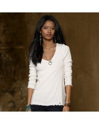 Denim & Supply Ralph Lauren Vneck Lacetrim Henley Top - Lyst
