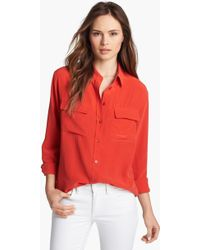 Equipment Signature Silk Shirt red - Lyst