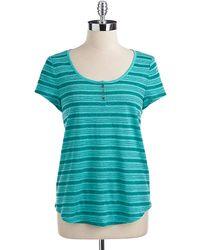 Lucky Brand Linen Striped Henley Top - Lyst