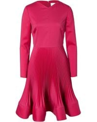 Valentino Wool Crepe Dress with Micro Pleat Flounce Skirt - Lyst