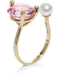 Delfina Delettrez - Diamonds Topaz Pearl and Gold Ring - Lyst