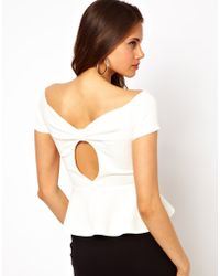TFNC Top with Bow Back and Peplum white - Lyst