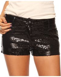 Forever 21 Black Sequined Shorts - Lyst