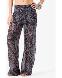 Forever 21 Leopard Print Chiffon Pants - Lyst