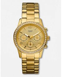 Guess - Ladies Spectrum Crystal Goldtone Chronograph Watch - Lyst