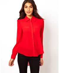 TFNC Shirt with Pleated Frill Shoulder red - Lyst