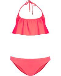 Topshop Coral Frill Crop Bikini - Lyst
