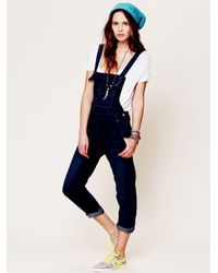 Free People Washed Denim Overall - Lyst