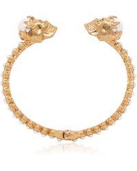Alexander McQueen Twin Skull Pearl Bracelet - Lyst