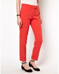 Boutique by Jaeger - Turn Up Trousers in Double Cloth - Lyst