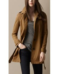 Burberry Cotton Satin Trench Coat - Lyst