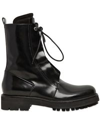 Costume National 40mm Brushed Calfskin Combat Boots - Lyst