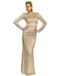 Dolce & Gabbana Viscose Lace Long Dress - Lyst