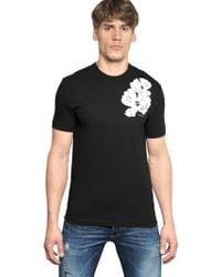 DSquared² Flower Printed Cotton Jersey Tshirt - Lyst