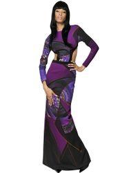 Etro Printed Viscose Cady Long Dress - Lyst
