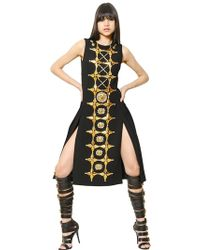 Fausto Puglisi Embroidered Wool Crepe Pleated Dress black - Lyst