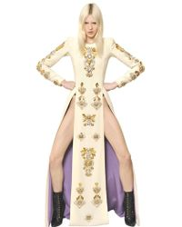 Fausto Puglisi Embroidered Wool Crepe Long Dress white - Lyst