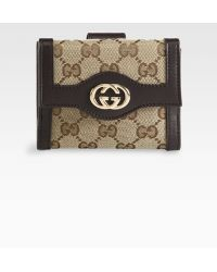 Gucci Sukey Original Gg Canvas French Flap Wallet - Lyst