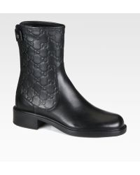 Gucci Gg Leather Ankle Boots - Lyst