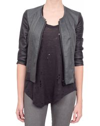 Helmut Lang Combo Leather Jacket Black Pearl - Lyst