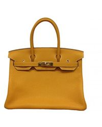 Hermes 30cm Moutarde Clemence Birkin with Gold - Lyst