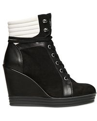 Hogan Rebel - 100mm Suede Calf Bicolor Wedged Trainer - Lyst
