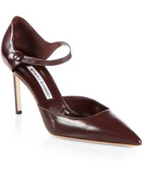 Manolo Blahnik Norvany Leather Mary Jane Pumps - Lyst