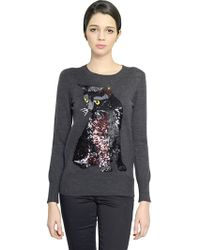 Markus Lupfer Felix Cat Sequined Wool Sweater - Lyst