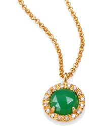 Mija - Jade White Sapphire Button Pendant Necklace - Lyst