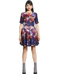 MSGM Printed Silk Gazar Dress - Lyst