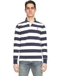 Ralph Lauren Blue Label - Cotton Jersey Denim Collar Rugby Shirt - Lyst