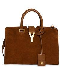 Saint Laurent Small Cabas Y Suede Leather Bag - Lyst