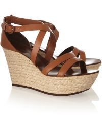 Casadei Leather and Rope Wedge Sandals - Lyst