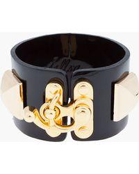 Fallon - Patent Rubber Studded Latch Bracelet - Lyst