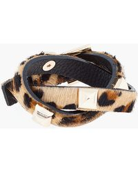 Fallon -  Leopard Print Calf_hair Double Wrap Studded Bracelet - Lyst