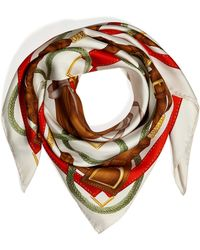 Ralph Lauren Collection | Silk Twill Saddle Print Scarf in Ivoryred | Lyst