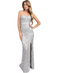 Scala Beaded Strapless with Thigh High Slit Gown - Lyst