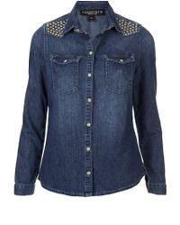 Topshop Studded Denim Shirt - Lyst