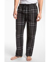 Burberry Check Cotton Pajama Pants gray - Lyst