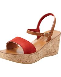 K. Jacques - Josy Suede Cork Wedge Sandal Coral - Lyst