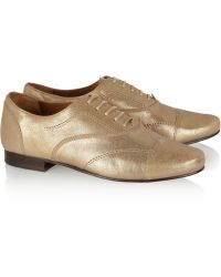 Lanvin Metallic Leather Lace Up Flats - Lyst