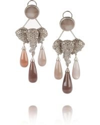 Lydia Courteille - Mhadaratha 18karat Gold Diamond and Moonstone Earrings - Lyst