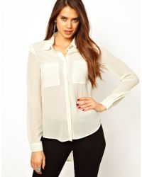 TFNC Shirt with Pleated Frill Shoulder white - Lyst