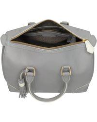 Pineider Bowling Light Grey Leather Satchel Bag - Lyst