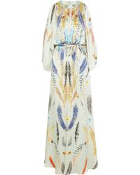 Temperley London Feather print Hammered silk Satin Gown - Lyst