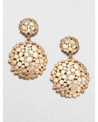 ABS By Allen Schwartz PavÉ Double Drop Earrings gold - Lyst
