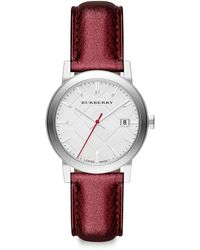 Burberry Stainless Steel Metallic Leather Strap Watchburgundy - Lyst