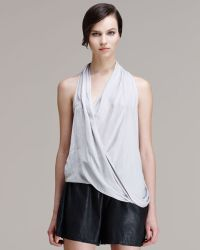 Helmut - Glossy Cross-front Shirting Top - Lyst