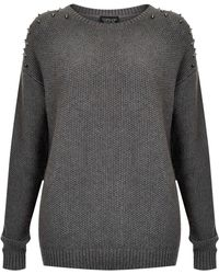 Topshop Knitted Moss Stitch Jumper - Lyst