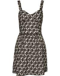 Topshop Lace Corset Flippy Tunic Dress - Lyst
